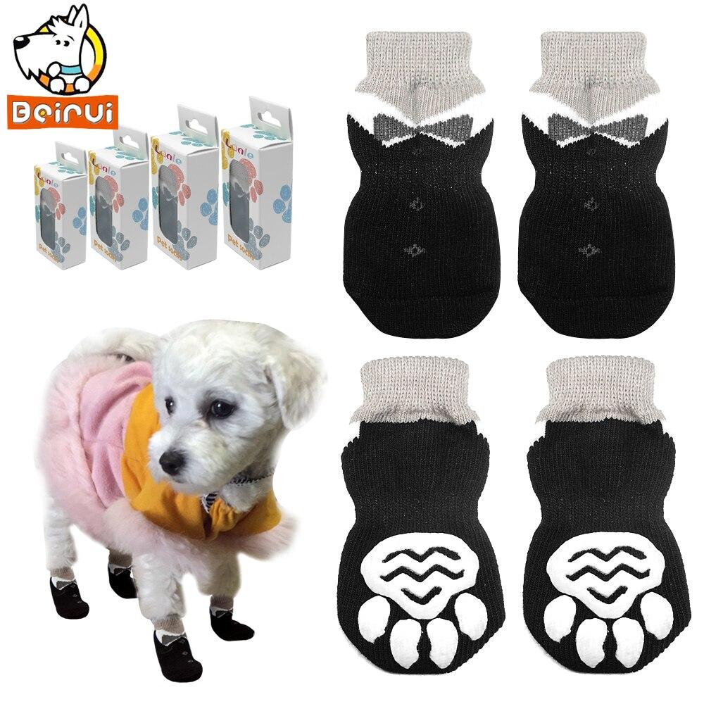 Zapatos para perro mascota antideslizantes calcetines tejidos de algodón para mascotas pequeñas y medianas botines antideslizantes suela de pata perro gato cachorro zapatos para perros S M L XL