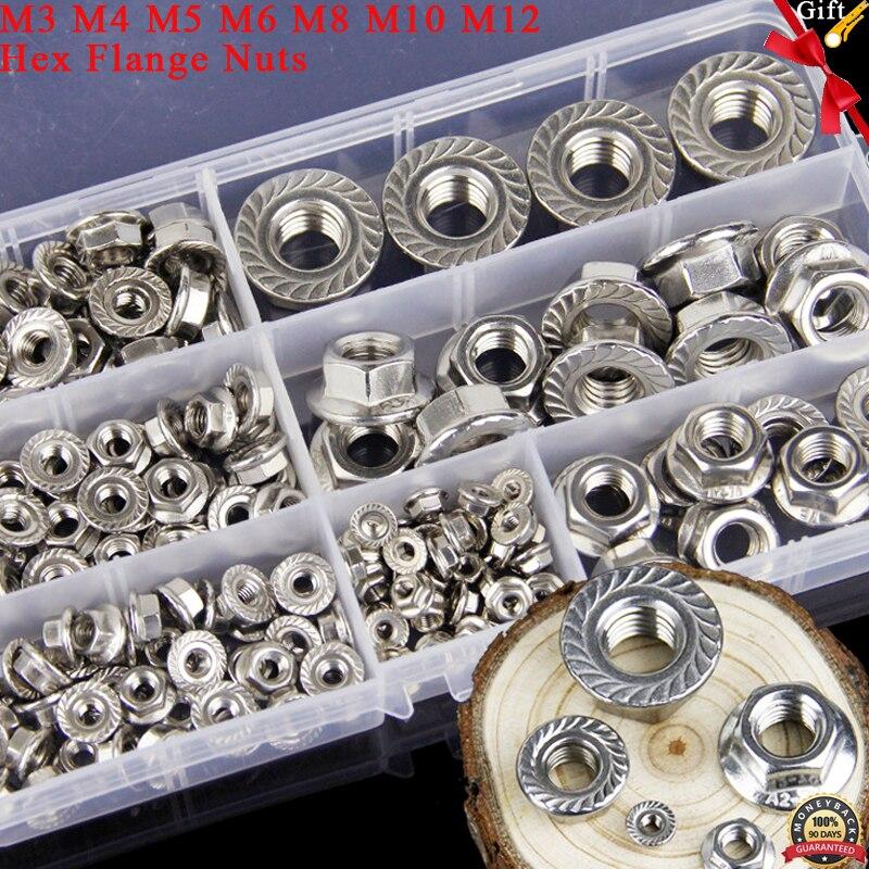 174 pz Filettatura Metrica M3 M4 M5 M6 M8 M10 M12 Hex Dadi della Flangia Assortimento Kit In Acciaio Inox 304 DIN6923