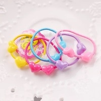 Fashion 10/20Pcs Double Beads Cartoon Children's Hair Ring Candy Color Children Head Rope Hair Band Rubber Band Hair Accessories