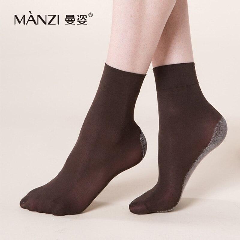 Mz42001 MANZI 100D de carvão de bambu antiderrapante veludo das mulheres curtas meias desodorização respirável fibra de bambu meias 6 pares/lote