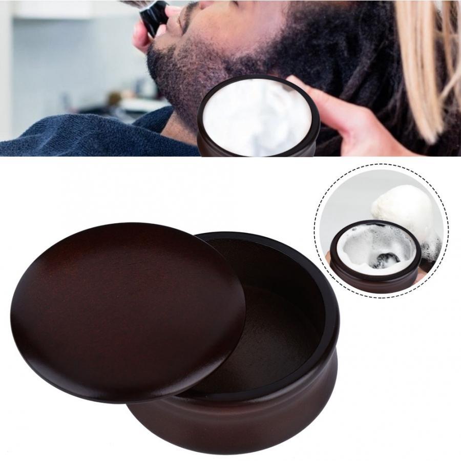 Hombre hombre operación Manual espuma madera barba afeitado cubierta y Bol herramienta Set afeitado Bol jabón