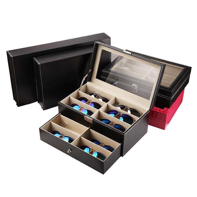 2017 Mordoa More style PU Leather Tray Holder 3/ 8/12 Grid Eyewear Boxes Glasses jewelry display Shelf/Box/Rack