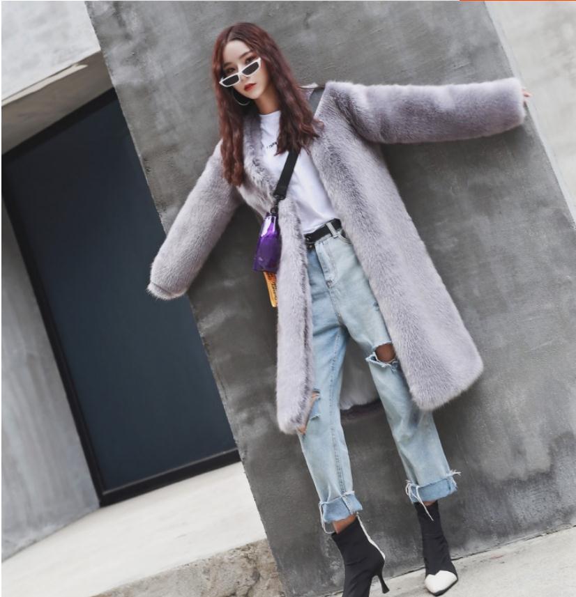 Chaquetas holgadas de piel para Mujer, abrigo elegante de invierno, abrigo cálido...