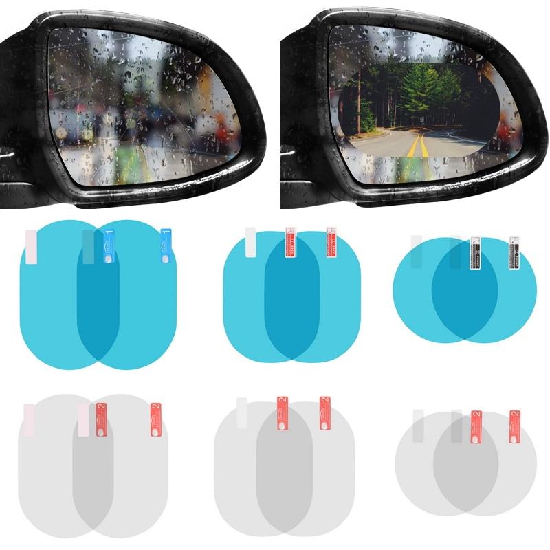 2PCS/Set Anti Fog Car Mirror Window Clear Film Membrane Anti-glare Waterproof Rainproof Car Sticker Car Accessories
