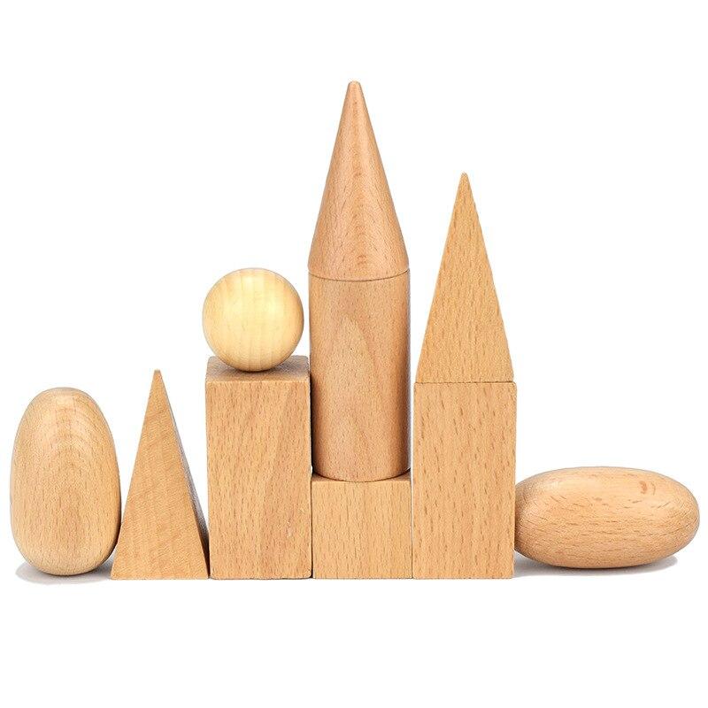 Детские сенсорные игрушки Монтессори, 10 шт./лот, деревянные блоки, Детские Обучающие деревянные геометрические блоки, набор для детей ясельного возраста