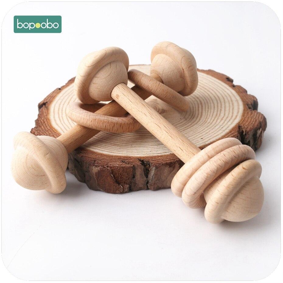 Bopoobo 5 uds bebé juguetes de madera para la dentición anillo gimnasio bebé mordedor Chew Montessori juguete bebé ducha regalos bebé sonajeros