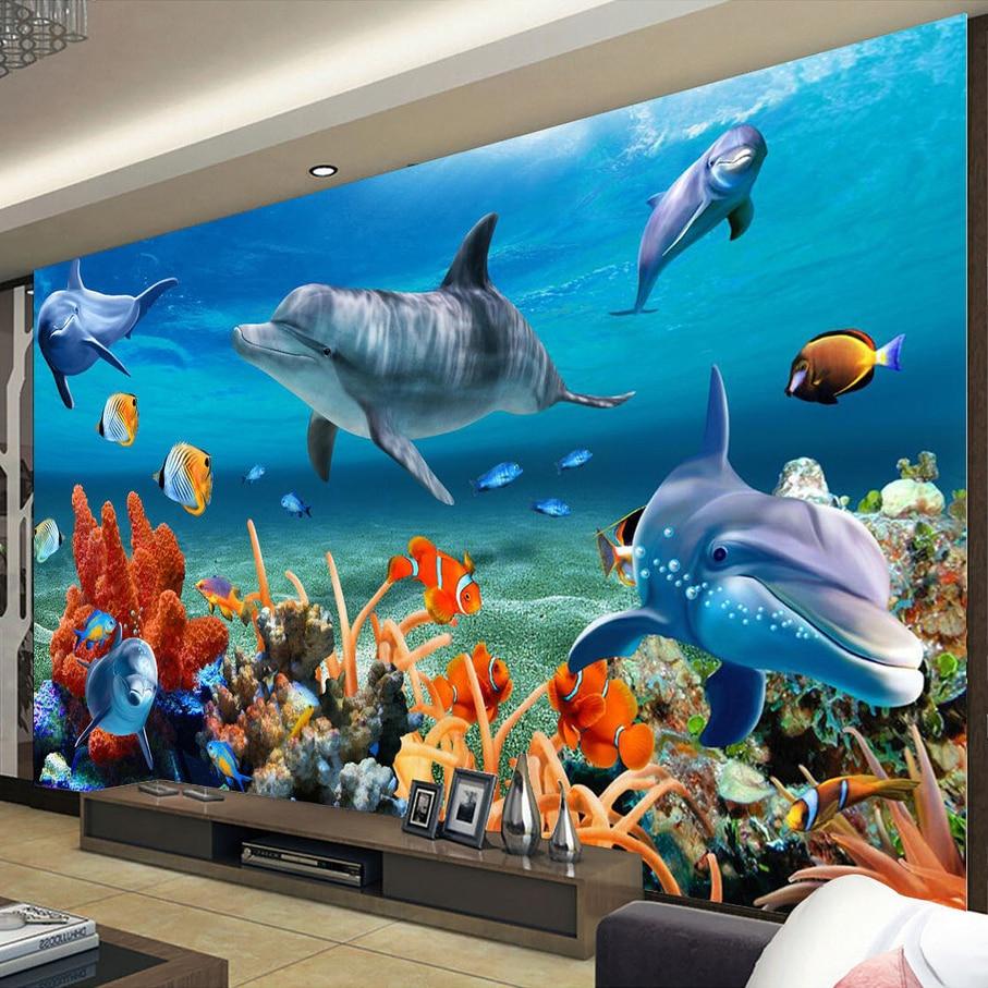 Papel tapiz Mural personalizado 3D océano delfín peces Coral Sala sofá TV fondo no tejido papel tapiz para paredes de dormitorio 3D