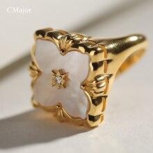 CMajor S925 bijoux en argent Style italien coquille blanche trèfle à quatre feuilles bagues de mode Vintage pour les femmes