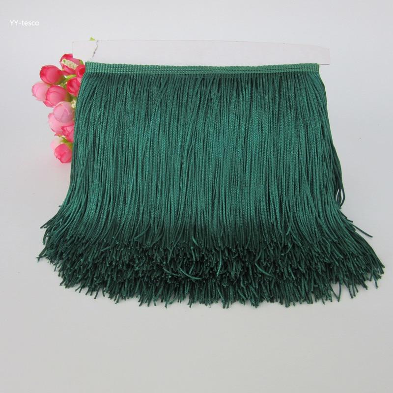 10yard Dark green Fringe Tassel Trimming Lace Latin Dress Macrame Dance Clothing Polyester Single Band 15cm Lace Ribbon