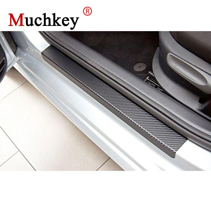 Para Toyota Hilux 4D fibra de carbono vinilo pegatina puerta Sill raspado placa puerta entrada Protector coche-estilismo Auto parte 4 Uds