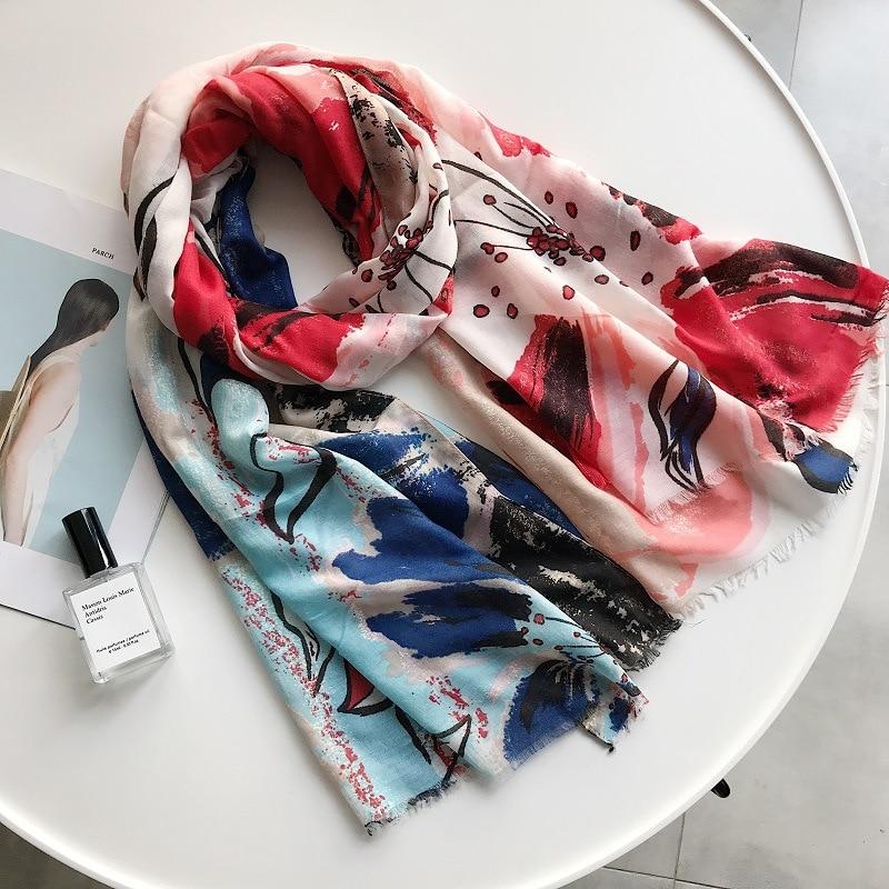 وشاح وشالات مزينة بالورود ، حجاب قطني ، حجاب مزين بالورود ، 5 ألوان ، 2018