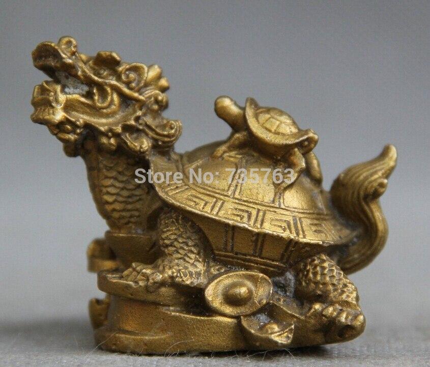 Estatua de la riqueza Animal tortuga dragón de bronce popular de Fengshui chino de 00693