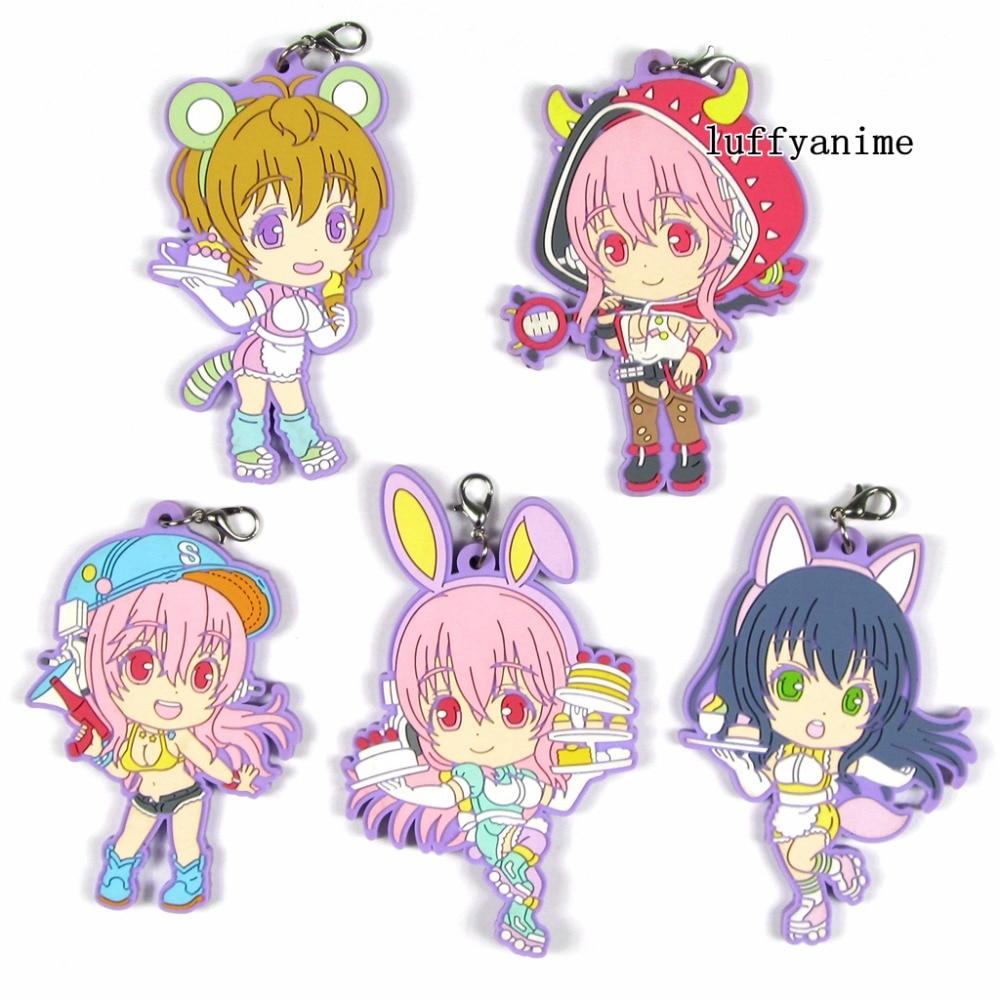 Super Sonico Rubber pendant Suzu Fujimi anime Key chain Toy Figures Mobile Phone Accessories strap Bag ornaments Keychain
