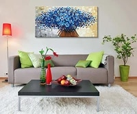 canvas painting abstract wall art modern holiday gift blue flower oil painting contemporary artwork floral canvas art top arts