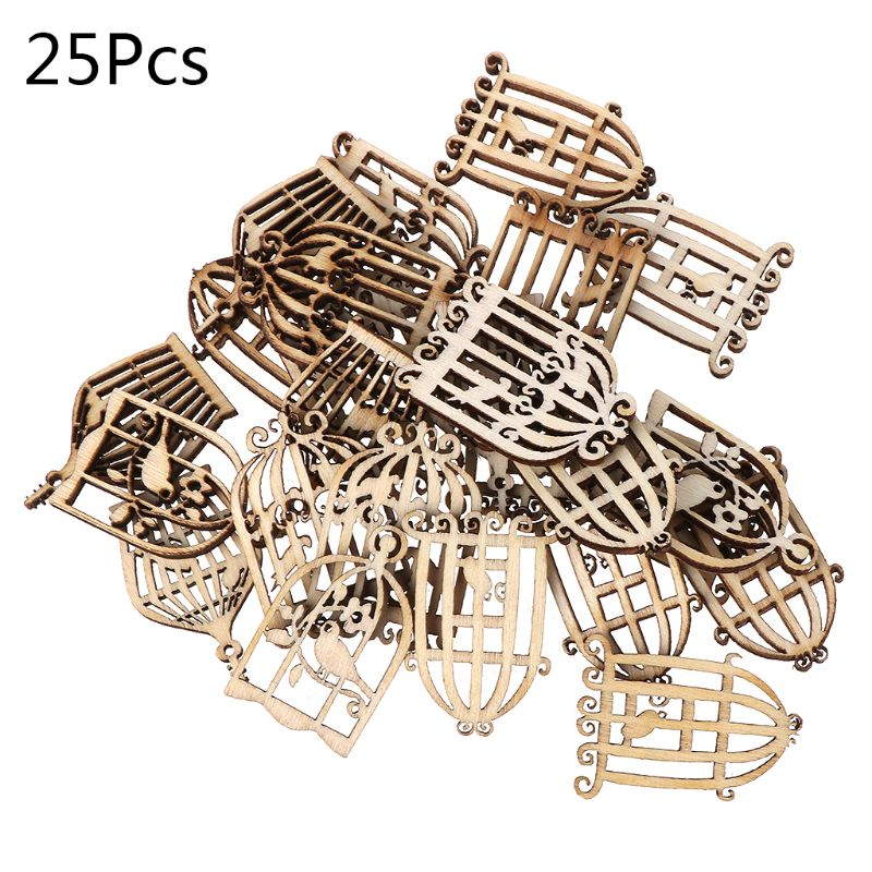 25 uds., adorno de jaula de madera cortada con láser, decoración para bodas artesanal en forma de madera 19QB