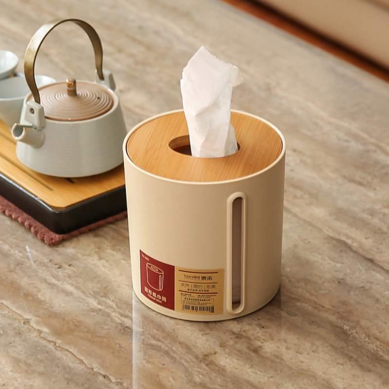 Tejido caja redonda con tapa de bambú lado dibujar tubo de papel Continental Simple habitación servilleta de papel de caso