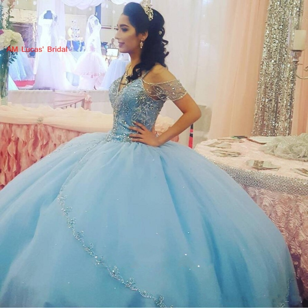 Nuevo Vestido De baile Quinceañera vestidos cristales y cuentas dulce largo 16 años fiesta De cumpleaños vestidos Vestido De 15 Anos