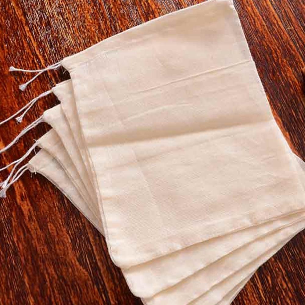 Behogar 50 PCS Multifunctional Reusable Cotton Drawstring Spice Filter Bag Strainer Chinese Medicine Soup Tea Herb Pouch