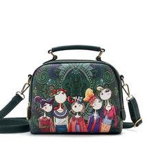 YQYDER 2017 дизайнерская Роскошная брендовая Высококачественная женская сумка из искусственной кожи зеленого цвета с мультипликационным принтом, сумка на плечо, женская сумка