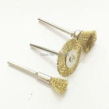 Brosses dentaires de laboratoire, polissage, fil de cuivre et laiton, avec poignée, 3 types différents, 10 pièces