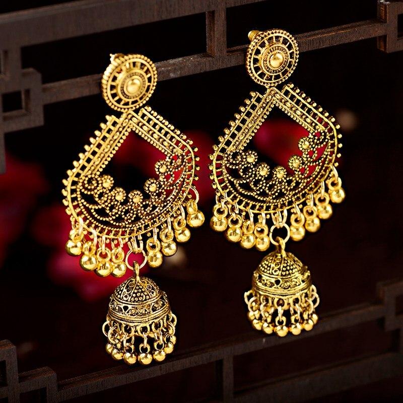 Этнические женские большие золотые Висячие серьги Jhumka, индийские серьги, Винтажные висячие серьги с кисточками-фонариками, дворец Orecchini Donna HXE095