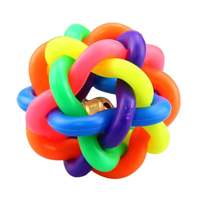 Bola tejida colorida con cascabel para gato Rinbow Color Gatos Perros mascotas bola juguetes para pequeños suministros para mascotas perros