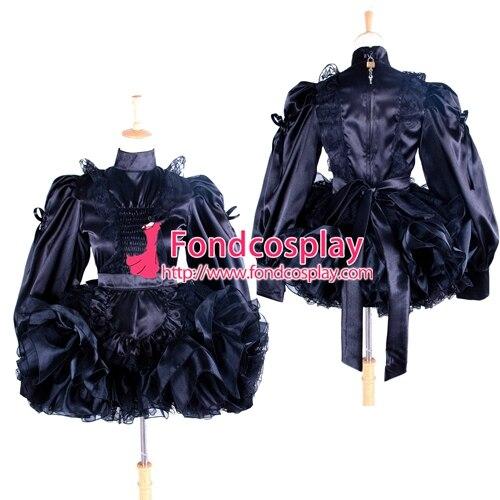 Sissy femme de chambre verrouillable uniforme noir Satin-dentelle robe Cosplay Costume sur mesure [G1363]