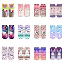Rosa Brille Lama Neue Heiße Mädchen Lustige Meias Low Cut Ankle Socke Frauen Strumpfwaren Druck Socken Calcetines Weihnachten Geschenk Socken