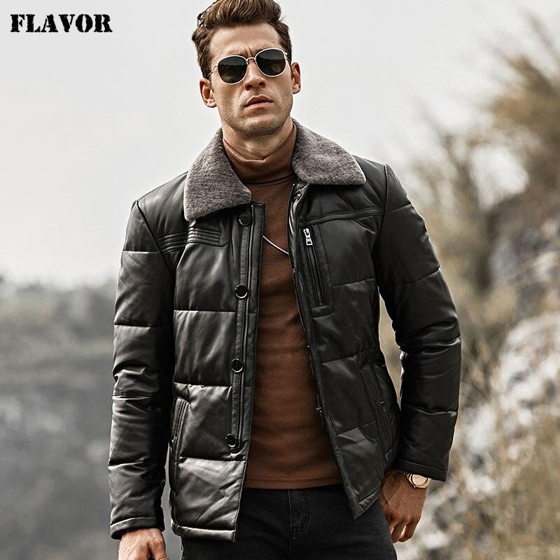 Chaqueta de piel de plumón de pato para hombres con sabor a piel de cordero, chaqueta de cuero genuino, abrigo de invierno cálido con cuello de piel de oveja extraíble