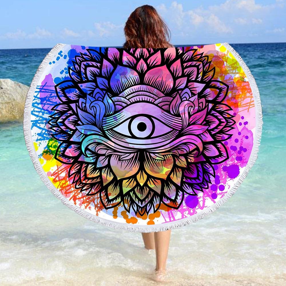 Toalla de playa redonda Mandala Toalla de baño de microfibra tapiz Yoga Mat Picnic borlas manta regalo decoración del hogar 002, envío gratis