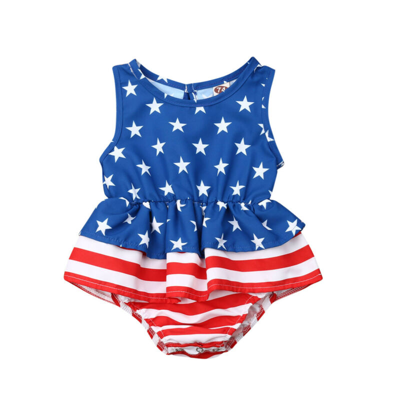 Toddler Kids Print Ruffles Tutu Romper Playsuit Jumpsuit Fourth Of July Baby Girl Sleeveless Rompers Outfit Sunsuit Clothes Tops