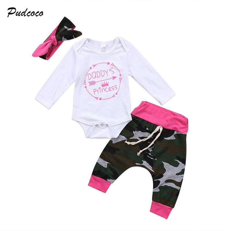 Pudcoco/камуфляжная одежда для новорожденных девочек; комбинезон; боди; брюки; повязка на голову; комплект из 3 предметов; комплект одежды для детей