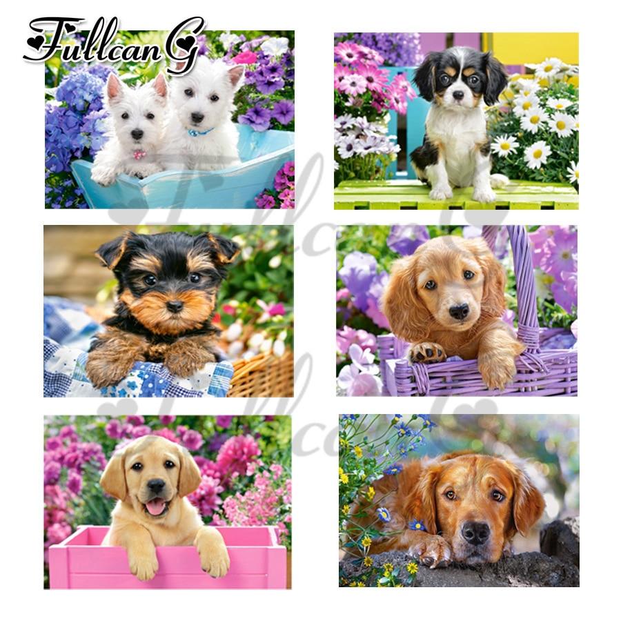 5d diy pintura diamante praça cheia FULLCANG cesta da flor bonito do cão do ponto da cruz flor mosaico de diamantes bordados kits G770