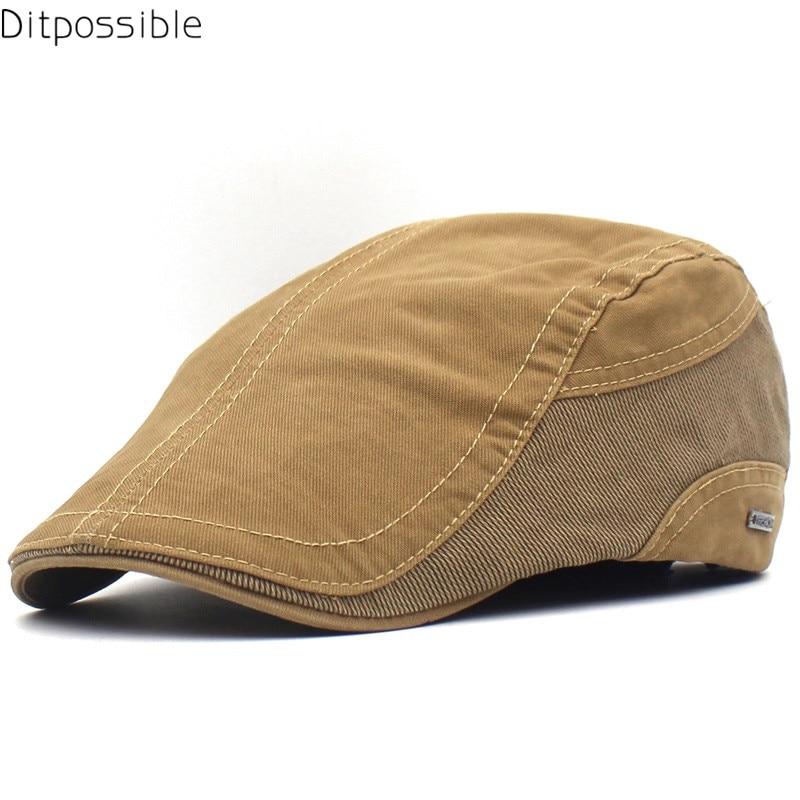 Ditpossible 2019 nueva casquete de verano hombres boina de algodón sombrero casual boina gorras planas
