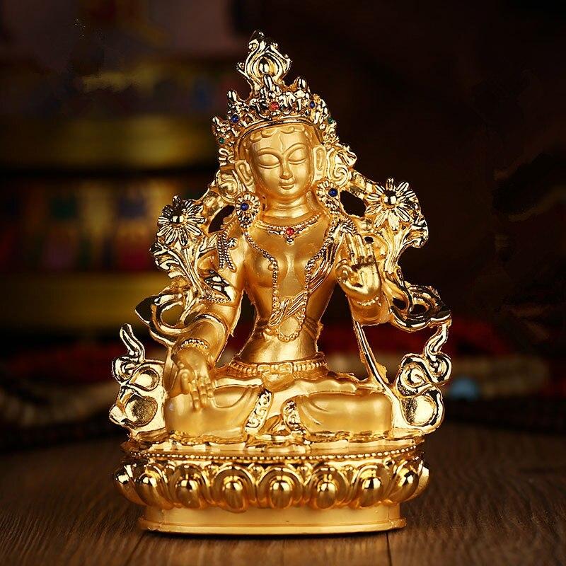 Eficaz Tara Verde Tranic dorado 14cm Buda dorado aleación Metal budista proveedores hogar/Oficina decorar arte de la estatua