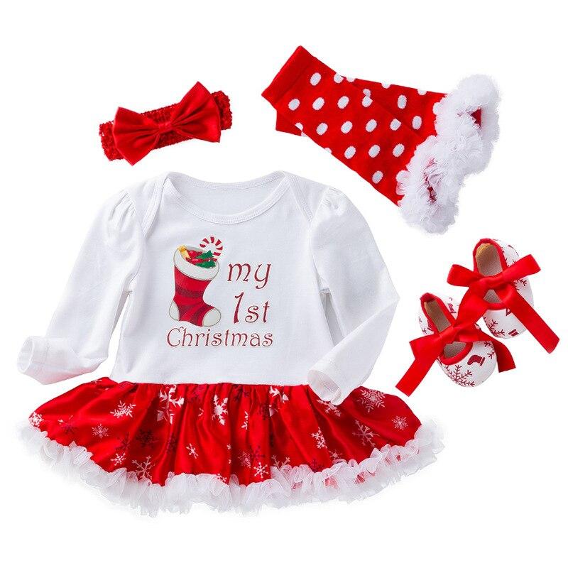 Ropa para bebé recién nacido, 4 Uds., conjunto de ropa de Navidad para niña, traje para niña, mi primer cumpleaños para recién nacidos, niña de un año
