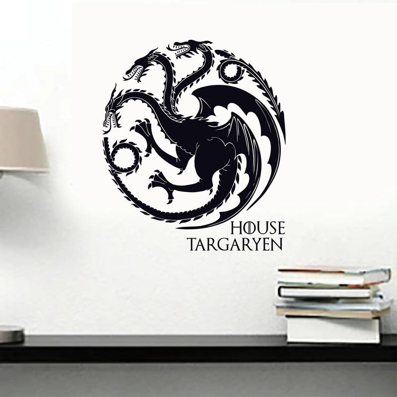 Calcomanía de pared para casa de Juego de tronos Targaryen, calcomanía de vinilo para pared con símbolos de dragones para paredes/coches/ordenadores portátiles