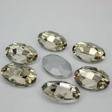 Café léger ovale verre à dos pointu   Couleur cristal clair, pierres fantaisie beads.10 * 14mm,13*18mm,18*25mm,20*30mm