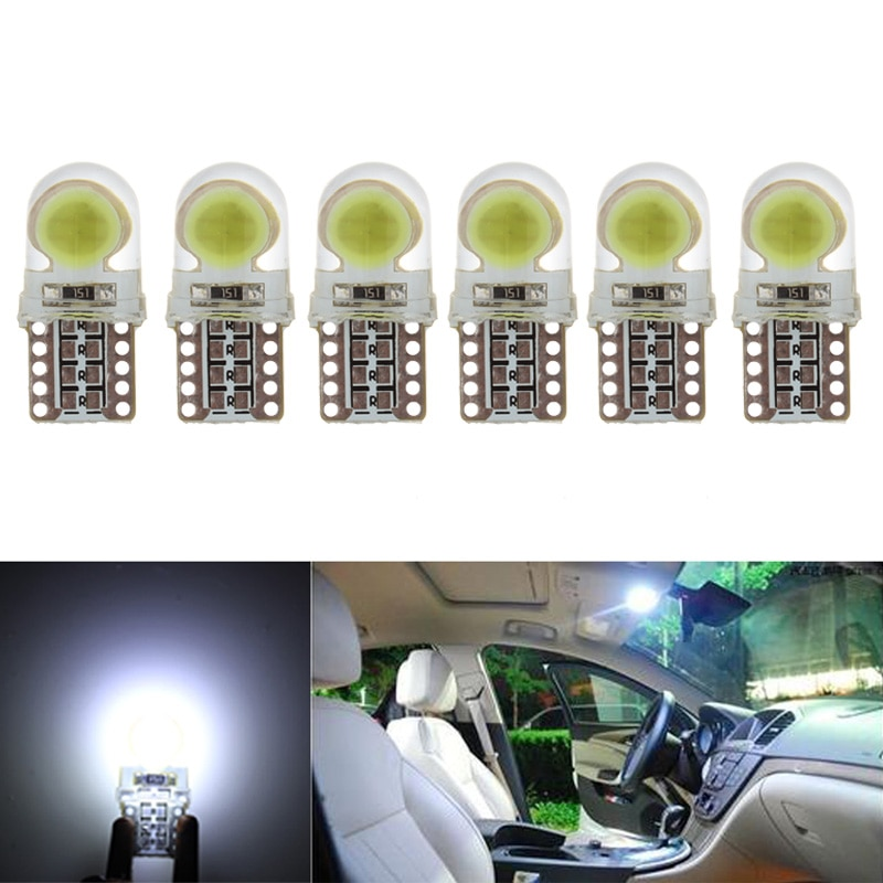 6 x auto t10 led w5w lâmpadas led branco 194 168 lâmpada led 501 cob escudo de silicone carro luzes led super brilhante virar lâmpada lateral 12v