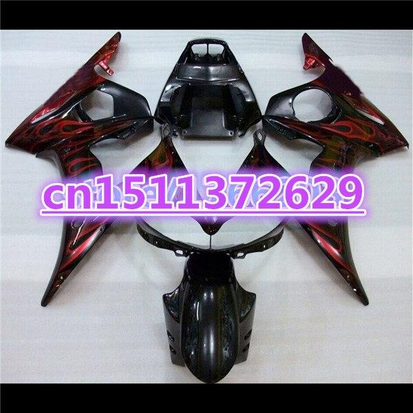 حار ABS هدية هيكل السيارة ل YZF R6 2003 2004 2005 اللهب الحمراء في الأسود YZFR6 600 03-05 هدية كيت YZF-R6 03 04 05