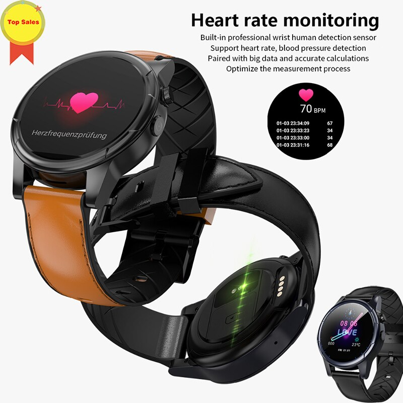 2019 4G LTE Android 7.1 Smart Watch 1.6inch Big Screen Round WiFi GPS Sim Card Smartwatch Phone Heart Rate PK Ticwatch 2 KW88