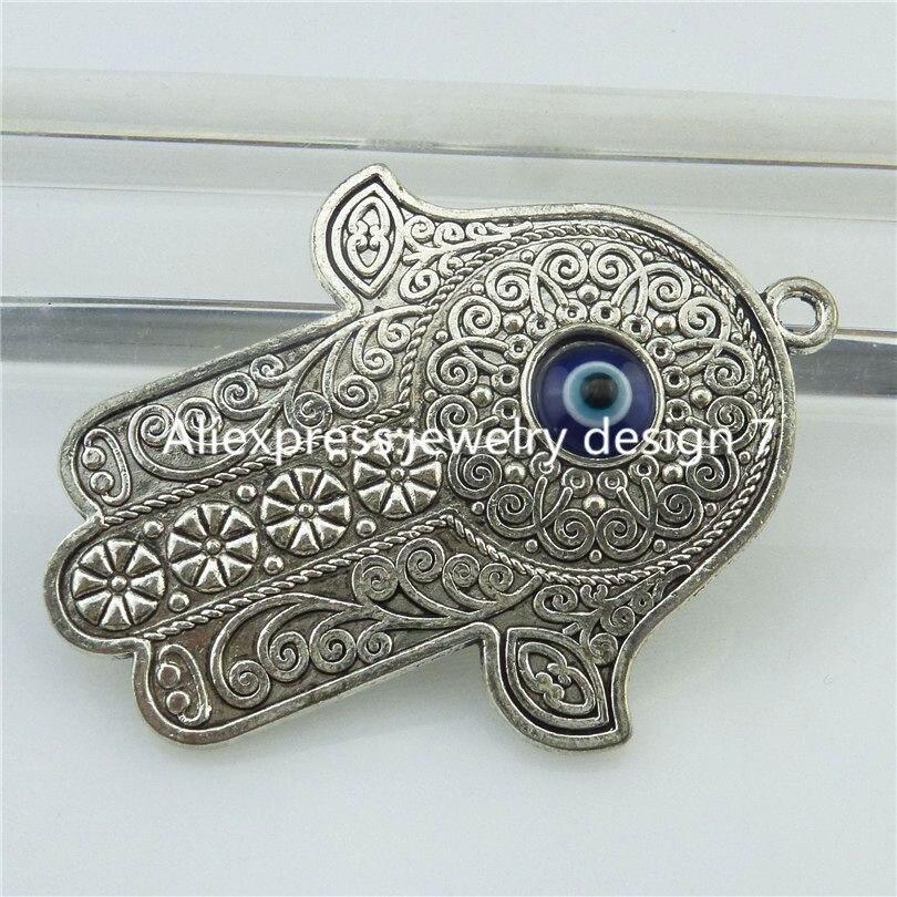 18725 2X Vintage de plata más turco macramé de mal de ojo de Fátima colgante de mano de Hamsa
