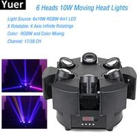New Infinite Rotatable LED 6 Heads 10W Moving Head Lights RGBW 17/38CH DMX Stage Lights Dj Led 6x10W Moving Head Beam Light