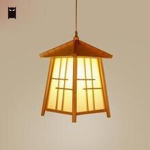 Bois maison abat-jour pendentif luminaire cordon japonais moderne à la main Tatami suspendu plafonnier pour Table à manger salle E27 ampoule