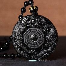 Obsidienne noire naturelle sculptée à la main Dragon chinois Phoenix BaGua pendentif amulette chanceux collier gratuit mode bijoux fins