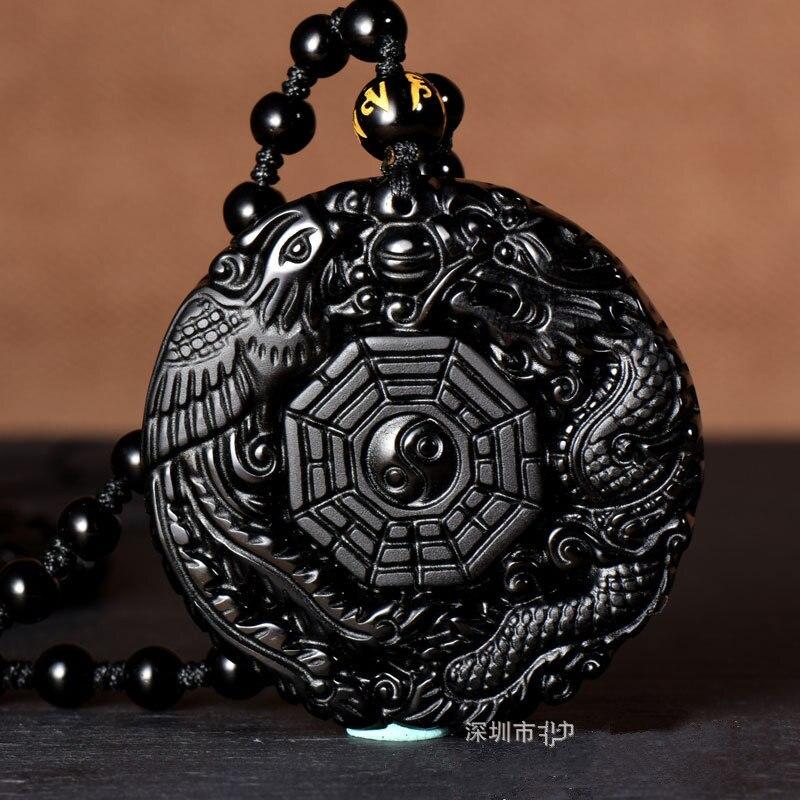 Natural negro obsidiana tallada a mano dragón chino Phoenix BaGua amuleto de la suerte colgante collar libre de moda joyería fina