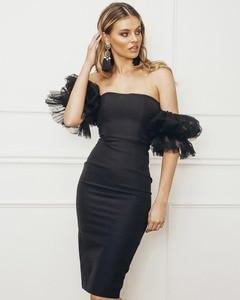 Women black  slash neck Off the Shoulder Sexy 2019 New Arrival Strapless Celebrity evening party Bandage bodycon dress