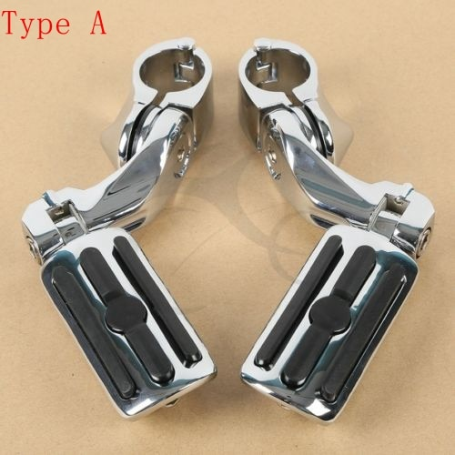 Motorcycle Chrome 1.25 32mm Short Angled Adjustable Highway Foot Pegs Peg Mount For Harley Yamaha Honda Suzuki Universal motorcycle engine guard mounts clamps adjustable highway pegs mount 1 1 4 footrest pedal for harley honda yamaha suzuki