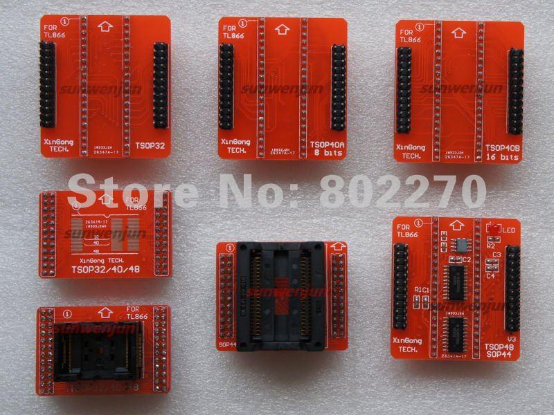 Total 7 red adapters TSOP32/40/48 PSOP44 adapter for TL866CS/TL866A/TL866II PLUS programmer 29F800 29LV800 39VF800