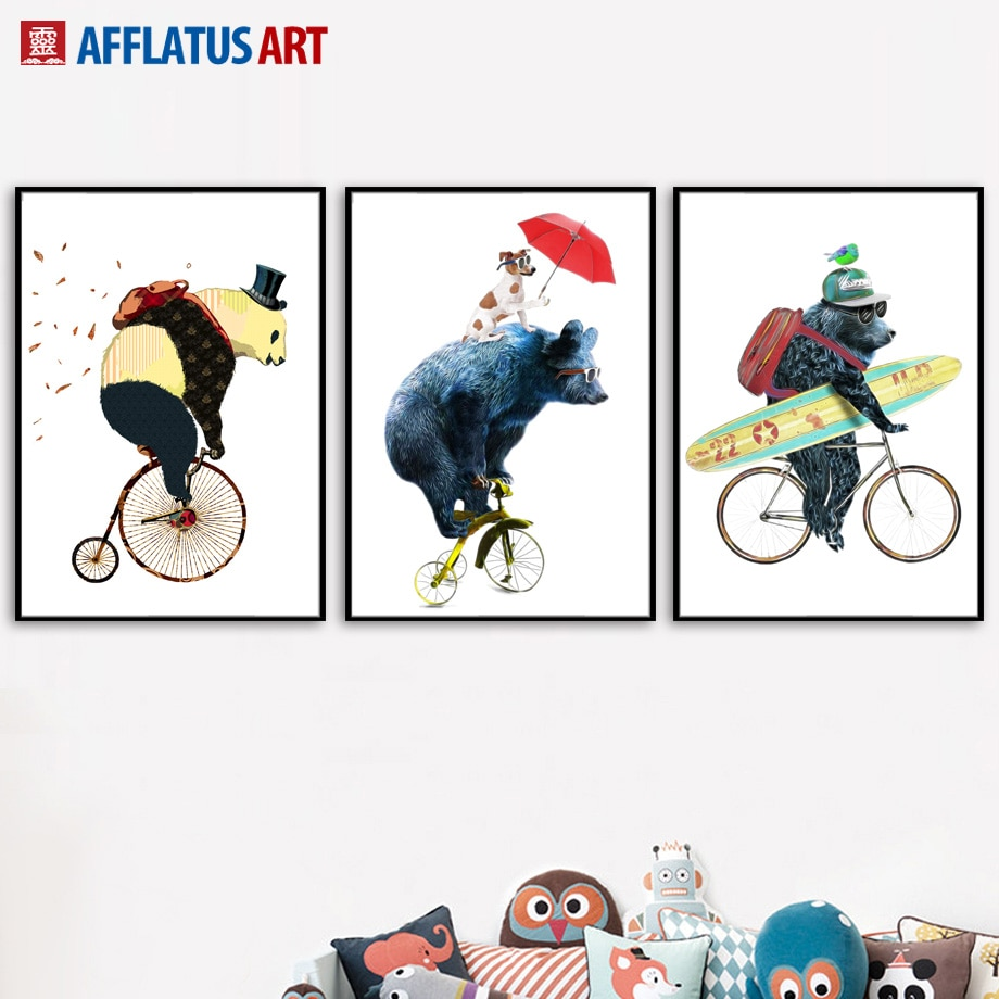 Oso de dibujos animados Panda perro bicicleta cuadro sobre lienzo para pared carteles nórdicos y huellas mosaico para pared de animales para la habitación de los niños niño decoración de la habitación